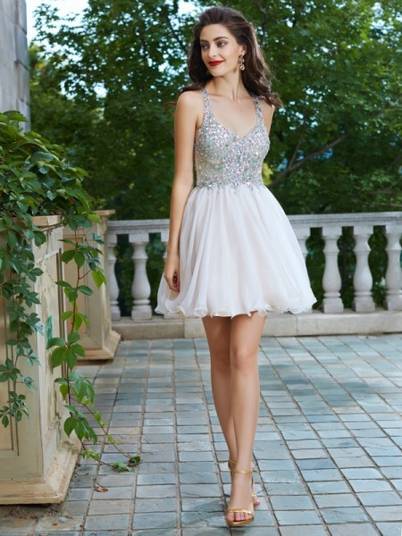 A-Line Straps Rhinestone Short/Mini Chiffon Homecoming Dresses