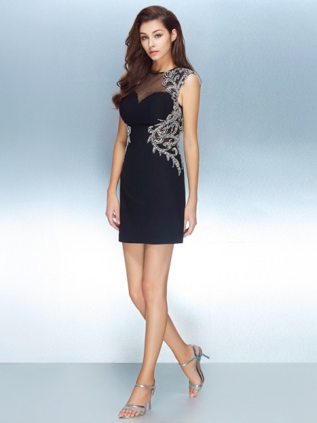 Sheath Jewel Net Crystal Short/Mini Homecoming Dresses