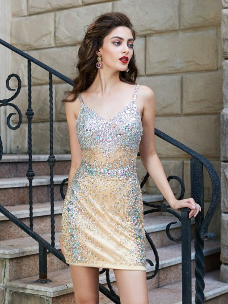 Sheath Spaghetti Straps Net Sequin Short/Mini Homecoming Dresses