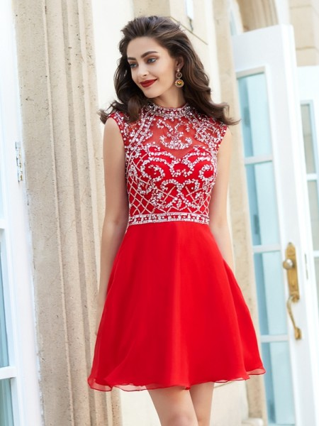 A-Line High Neck Beading Short/Mini Chiffon Homecoming Dresses
