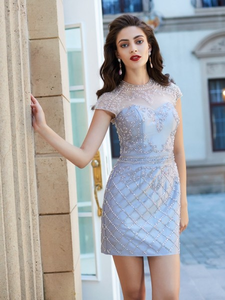 Sheath Jewel Beading Satin Short/Mini Homecoming Dresses