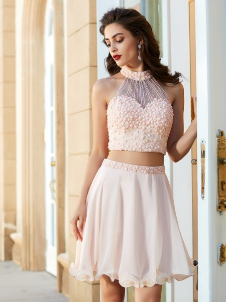 A-Line Halter Beading Chiffon Short/Mini Two Piece Homecoming Dresses