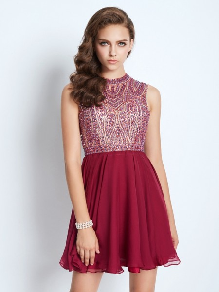 A-Line Jewel Chiffon Beading Short/Mini Homecoming Dresses