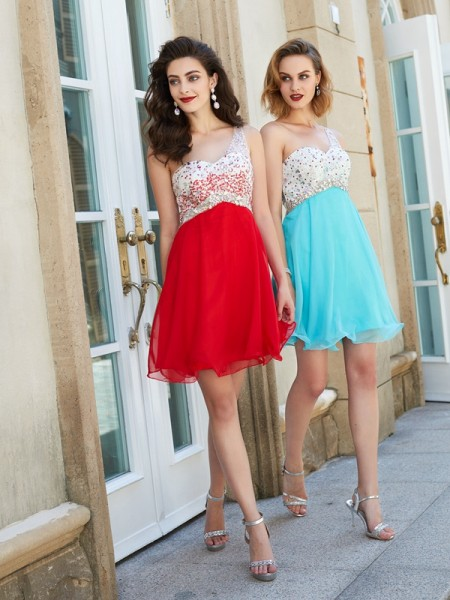 A-Line Chiffon One-Shoulder Beading Short/Mini Homecoming Dresses
