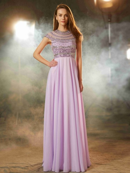 A-Line Scoop Floor-Length Beading Chiffon Prom Dresses