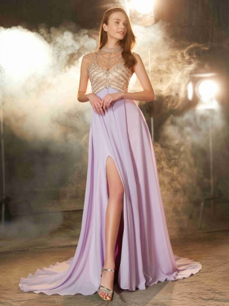 A-Line High Neck Sweep/Brush Train Crystal Chiffon Prom Dresses