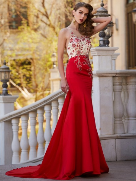 Mermaid Sheer Neck Court Train Applique Stain Prom Dresses