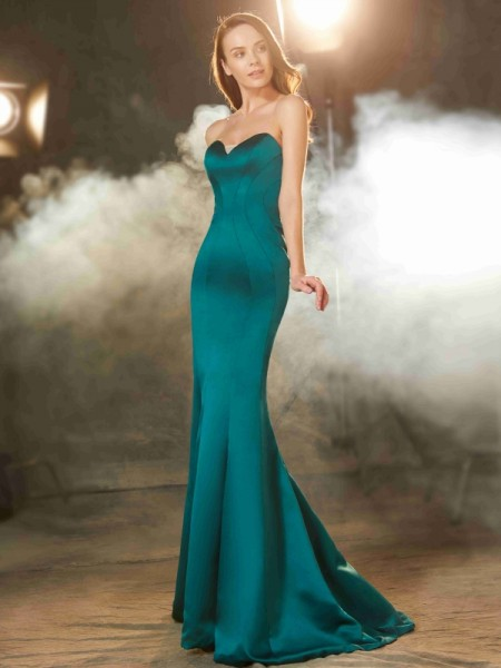 Mermaid Sweetheart Ruched Sweep/Brush Train Satin Prom Dresses