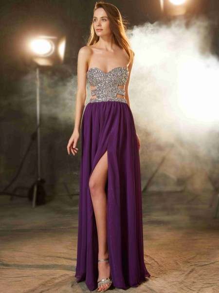 A-Line Sweetheart Crystal Floor-Length Chiffon Prom Dresses