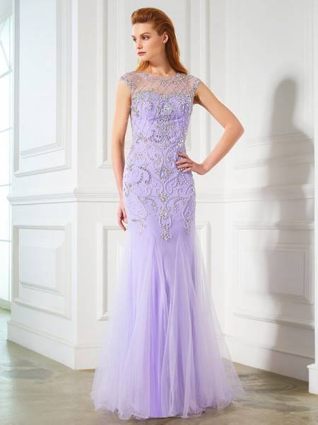 Mermaid Scoop Beading Floor-length Tulle Prom Dresses