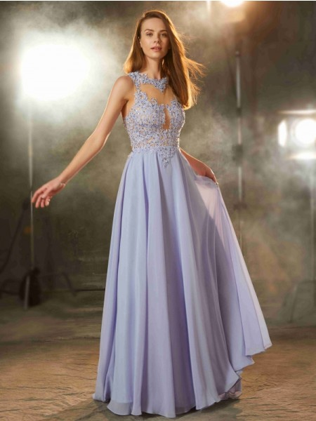 A-Line Scoop Floor-Length Applique Chiffon Prom Dresses