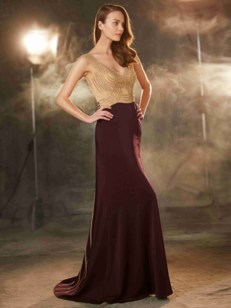 Sheath Straps Beading Sweep/Brush Train Jersey Prom Dresses