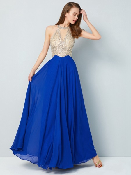 A-Line Scoop Floor-Length Crystal Chiffon Prom Dresses