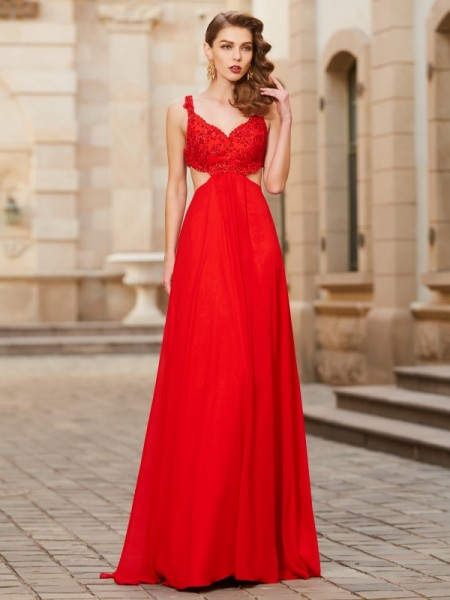 A-Line Straps Floor-Length Applique Chiffon Prom Dresses