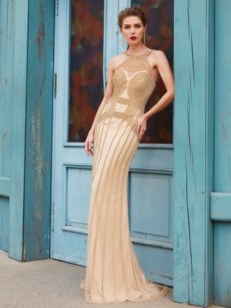 Sheath High Neck Sweep/Brush Train Beading Net Prom Dresses