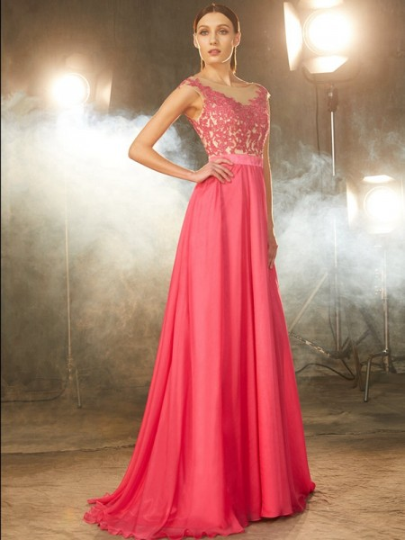 A-Line Sheer Neck Sweep/Brush Train Applique Chiffon Prom Dresses
