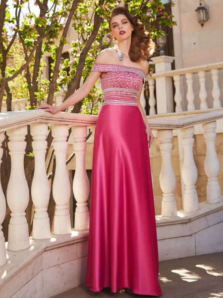 A-Line Off-the-Shoulder Beading Satin Floor-Length Two Piece Prom Dresses