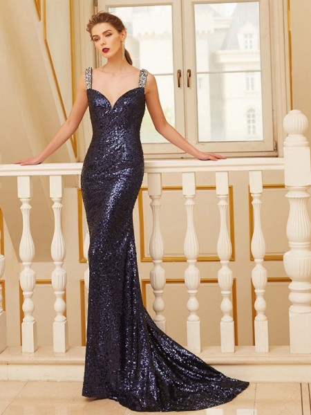 Sheath V-neck Sweep/Brush Train Beading Sequins Prom Dresses