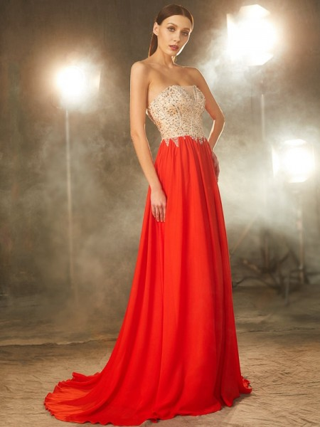 A-Line Strapless Beading Chiffon Sweep/Brush Train Prom Dresses