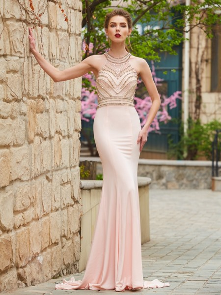 Sheath Scoop Sweep/Brush Train Beading Spandex Prom Dresses