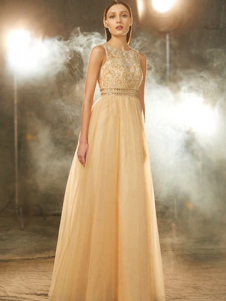 A-Line Scoop Beading Floor-Length Tulle Prom Dresses