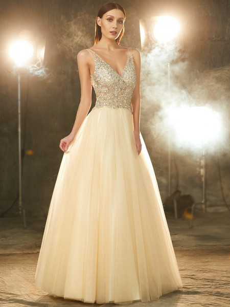 V-neck Beading Floor-length Tulle Ball Gown Prom Dresses