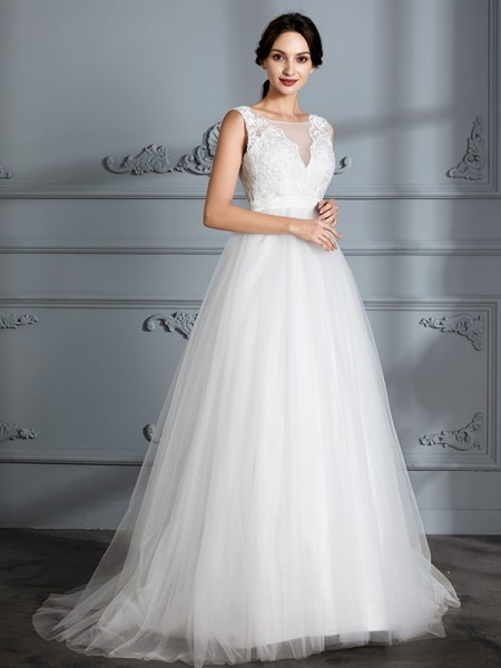 A-Line V-neck Sweep/Brush Train Tulle Wedding Dresses