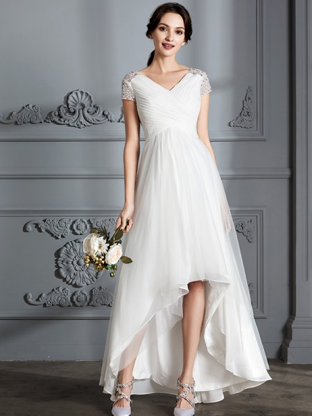 A-Line V-neck Asymmetrical Tulle Wedding Dresses