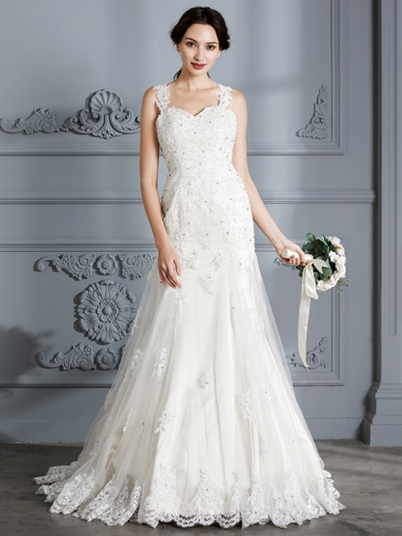 Mermaid Sweetheart Lace Court Train Wedding Dresses