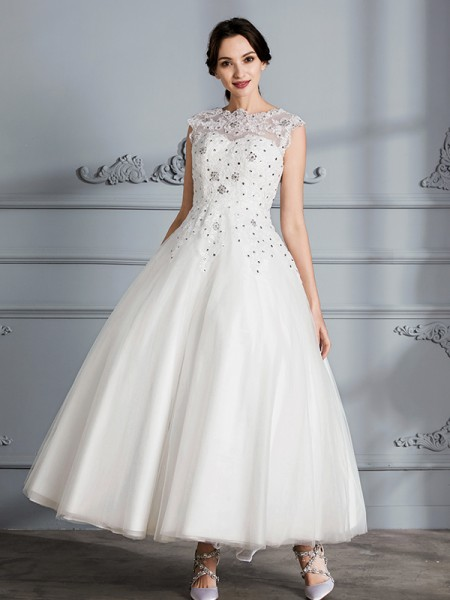Scoop Tea-Length Tulle Ball Gown Wedding Dresses