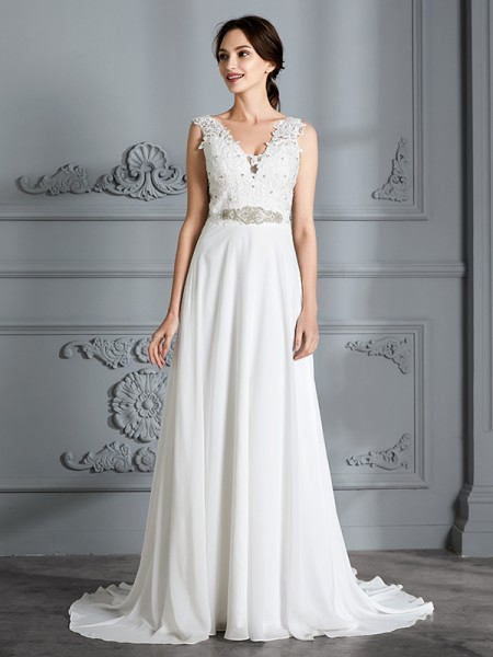 A-Line V-neck Sweep/Brush Train Chiffon Wedding Dresses