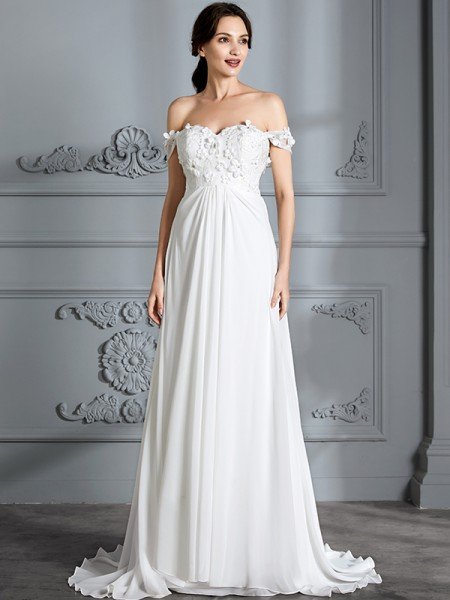 A-Line Off-the-Shoulder Chiffon Floor-Length Wedding Dresses