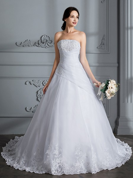 Strapless Court Train Organza Ball Gown Wedding Dresses