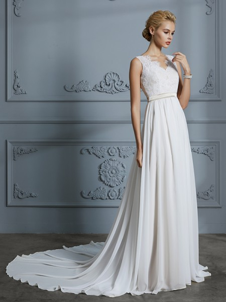 A-Line V-neck Chiffon Court Train Wedding Dresses