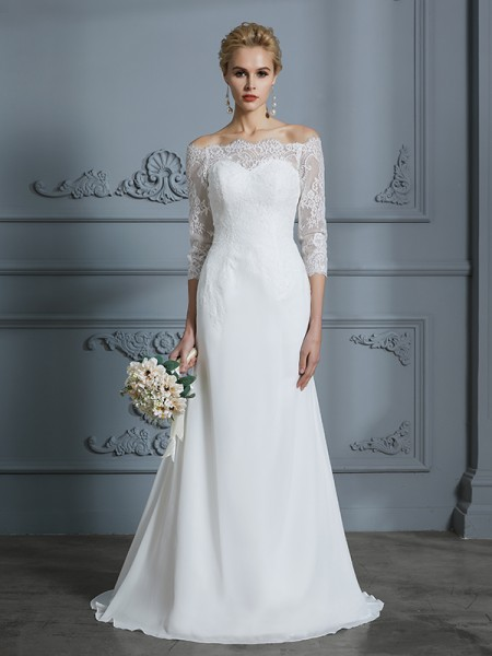 Mermaid Off-the-Shoulder Sweep/Brush Train Chiffon Wedding Dresses