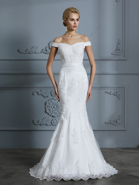 Mermaid Off-the-Shoulder Lace Sweep/Brush Train Tulle Wedding Dresses