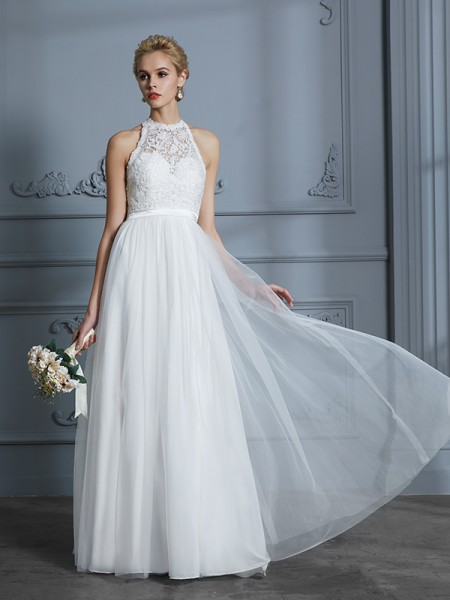 A-Line Scoop Tulle Floor-Length Wedding Dresses