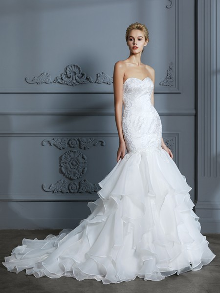 Mermaid Sweetheart Ruffles Sweep/Brush Train Organza Ball Gown Wedding Dresses