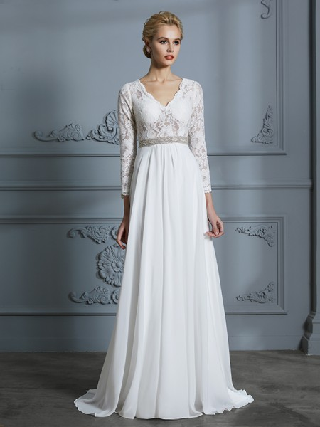 A-Line V-neck Lace Sweep/Brush Train Chiffon Wedding Dresses