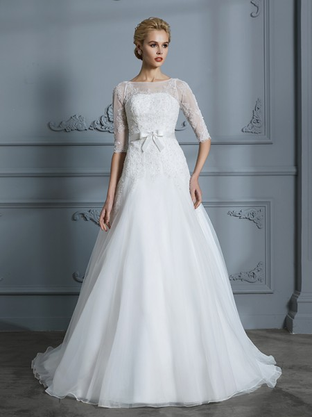 A-Line Scoop Lace Court Train Tulle Wedding Dresses