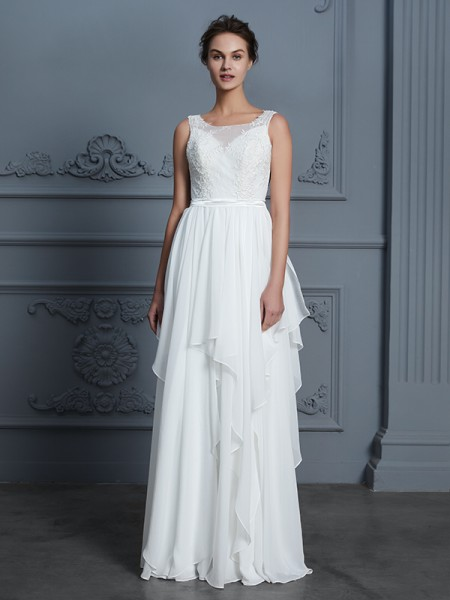A-Line Scoop Ruffles Floor-Length Chiffon Wedding Dresses