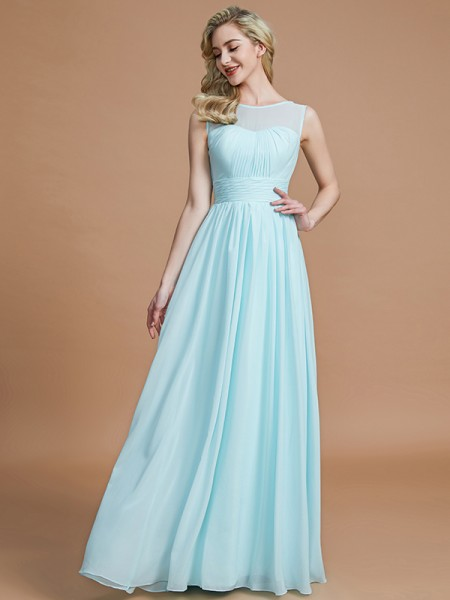 A-Line Scoop Floor-Length Chiffon Bridesmaid Dresses