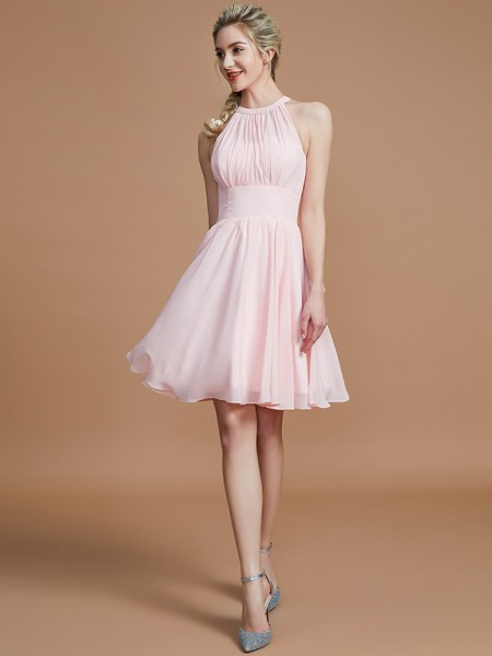 A-Line Chiffon Knee-Length Scoop Bridesmaid Dresses