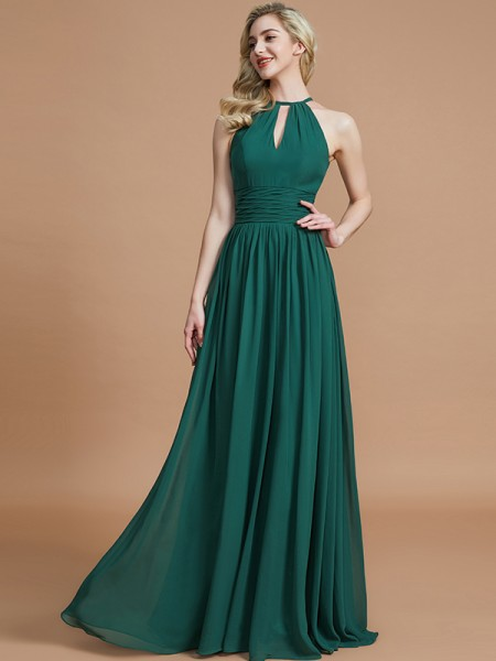 A-Line Chiffon Scoop Floor-Length Bridesmaid Dresses