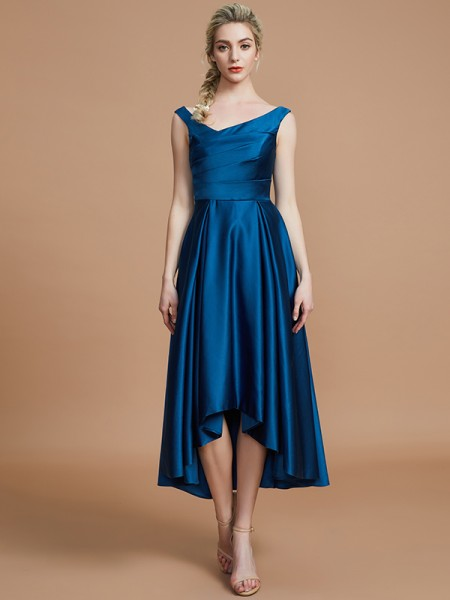 A-Line V-neck Satin Asymmetrical Bridesmaid Dresses