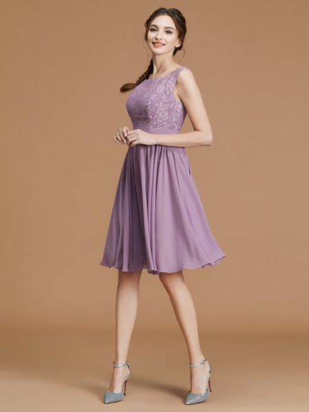 A-Line Bateau Short/Mini Lace Chiffon Bridesmaid Dresses