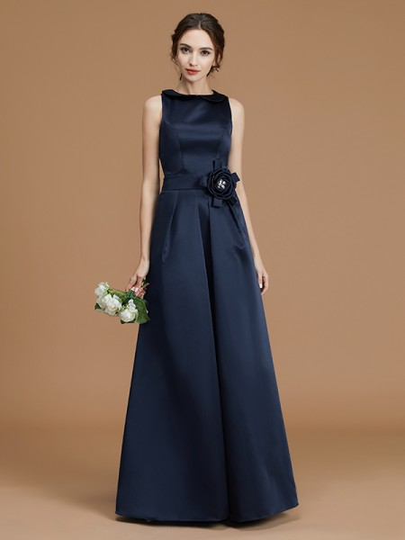 A-Line Bateau Floor-Length Hand-Made Flower Satin Bridesmaid Dresses