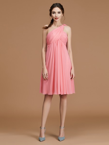 A-Line One-Shoulder Short/Mini Ruched Chiffon Bridesmaid Dresses