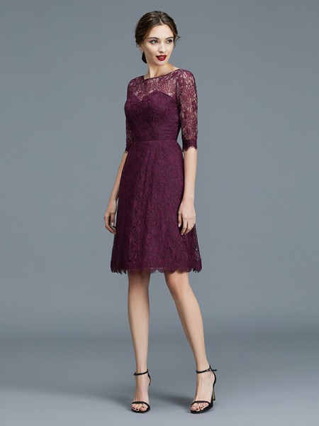 A-Line Bateau Knee-Length Lace Satin Bridesmaid Dresses