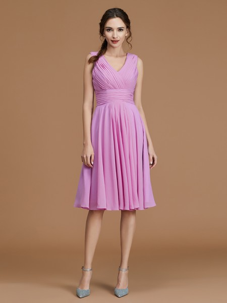 A-Line V-neck Short/Mini Ruched Chiffon Bridesmaid Dresses